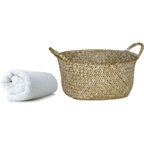 Woven Leaf Round Bathroom Towel Storage Basket